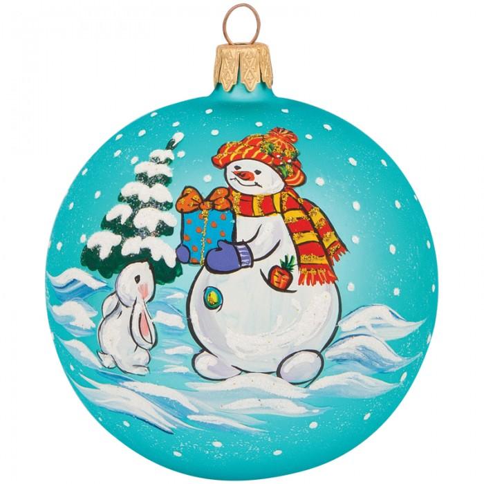 Купить Елочные игрушки, Элита Шар стеклянный Снеговик с подарком 8 см