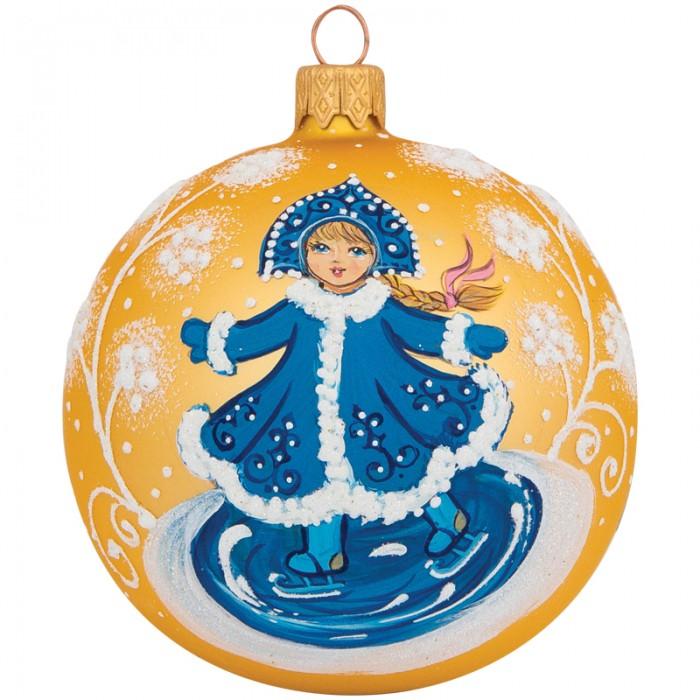 Купить Елочные игрушки, Элита Шар стеклянный Снегурочка на коньках 8.5 см