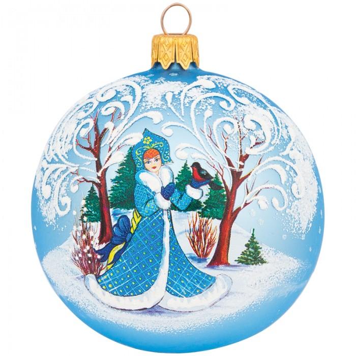 Купить Елочные игрушки, Элита Шар стеклянный Снегурочка с птичкой 8 см