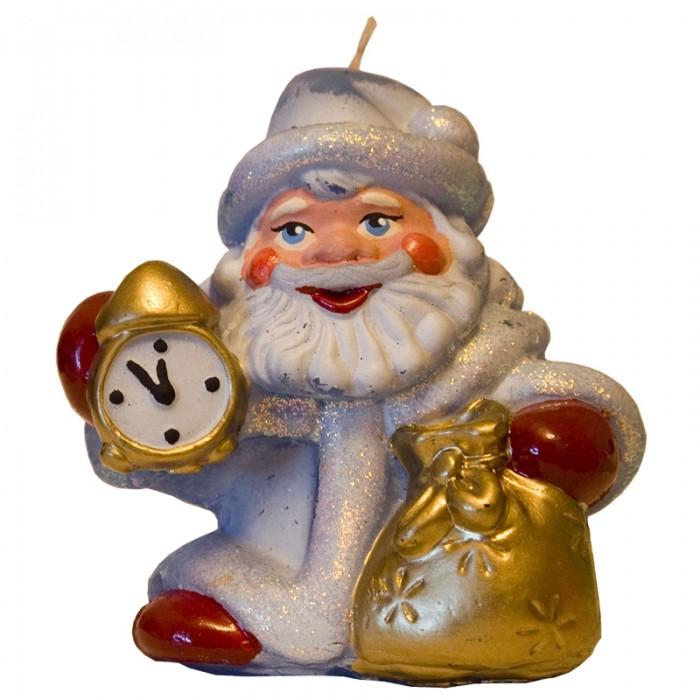 Новогодние украшения Мир свечей Свеча Дед Мороз с часами 8х7 см