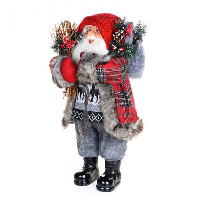 Новогодние украшения Maxitoys Дед Мороз в клетчатой шубе с хворостом 61 см новогодние украшения maxitoys дед мороз в красной шубе с мешком 32 см