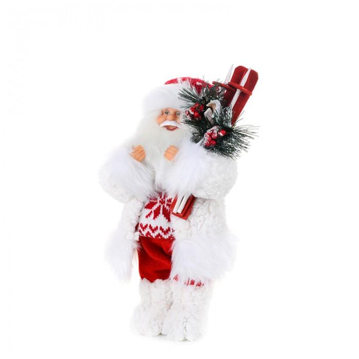 Новогодние украшения Maxitoys Дед Мороз в свитере со снежинкой и лыжами 32 см елоччная игрушка дед мороз в