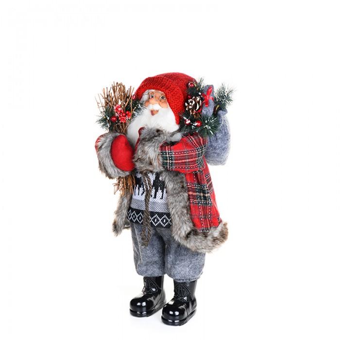 Новогодние украшения Maxitoys Дед Мороз в клетчатой шубе с хворостом 32 см новогодние украшения maxitoys дед мороз в красной шубе с мешком 32 см
