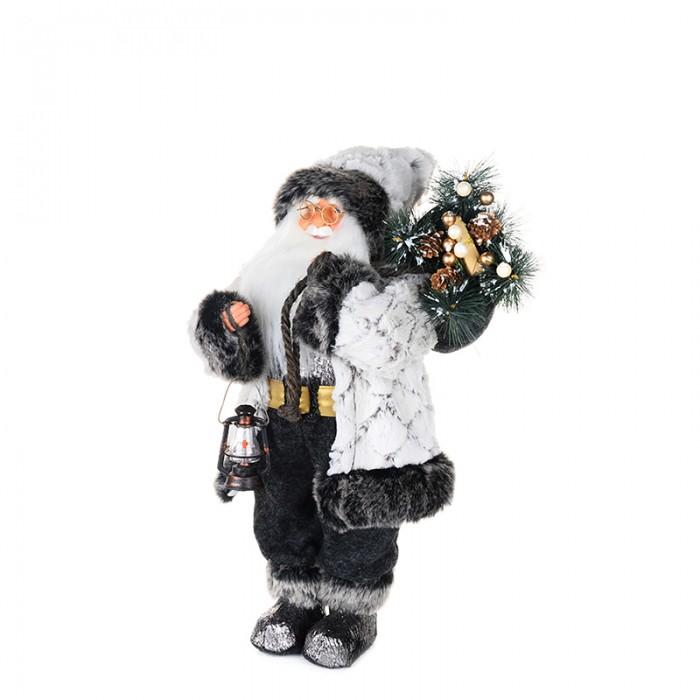 Новогодние украшения Maxitoys Дед Мороз в белой шубе с фонариком 32 см новогодние украшения maxitoys дед мороз в красной шубе с мешком 32 см