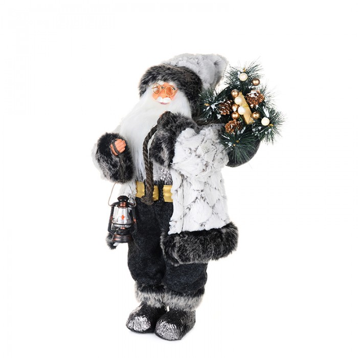 Новогодние украшения Maxitoys Дед Мороз в белой шубе с фонариком 45 см новогодние украшения maxitoys дед мороз в красной шубе с мешком 32 см