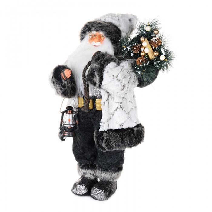 Новогодние украшения Maxitoys Дед Мороз в белой шубе с фонариком 61 см