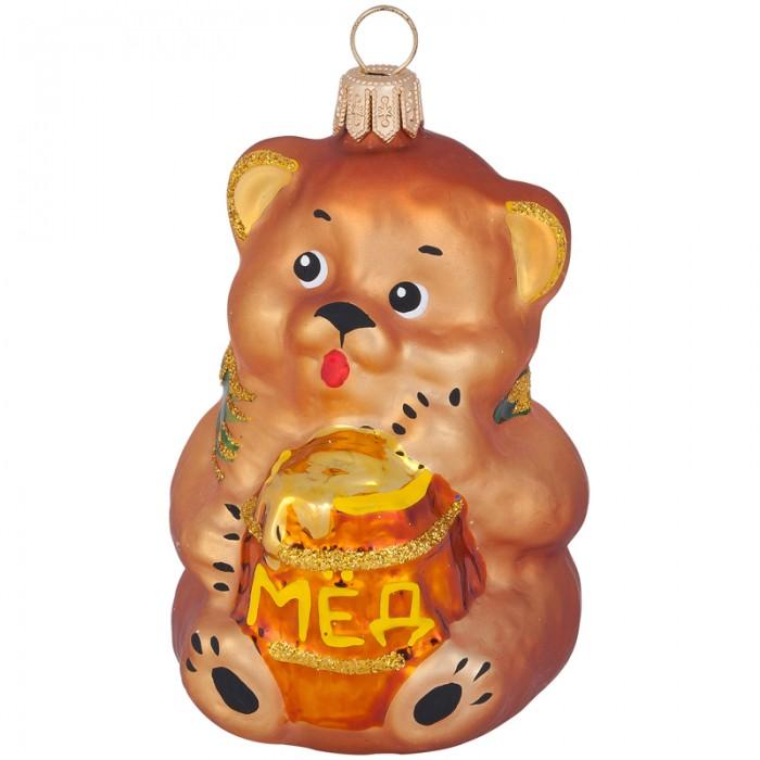 Елочные игрушки Елочка Елочное украшение стеклянное Мишка с медом 7.8 см елочные игрушки fp новогоднее елочное украшение книга с пожеланием внутри