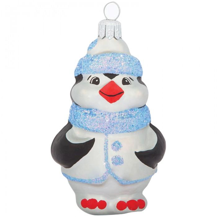 Елочные игрушки Елочка Елочное украшение стеклянное Пингвин 8 см