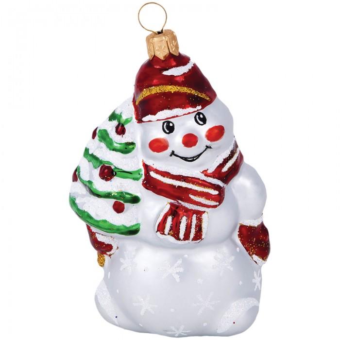 Елочные игрушки Елочка Елочное украшение стеклянное Снеговик с елкой 8.2 см елочные игрушки fp новогоднее елочное украшение книга с пожеланием внутри