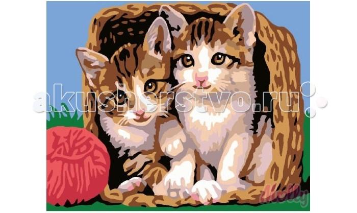 Картины по номерам Molly Картина по номерам Котята в корзине 30х40 см ravensburger картина по номерам котята в корзине