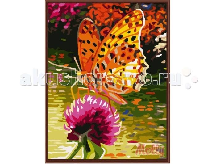 Картины по номерам Molly Картина по номерам Бабочка на цветке 30х40 см molly картина по номерам бабочка
