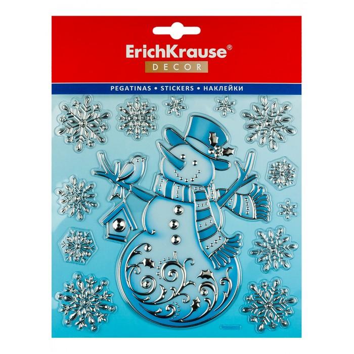 Новогодние украшения Erich Krause Набор наклеек Decor Снеговик серебряный 18х23 см шарик лосик снеговик 100 наклеек