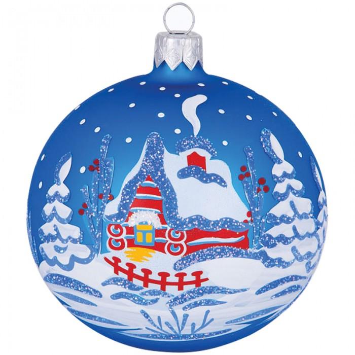 Елочные игрушки Елочка Шар стеклянный Зимовье 8.5 см елочные игрушки елочка шар стеклянный геометрический 6 см
