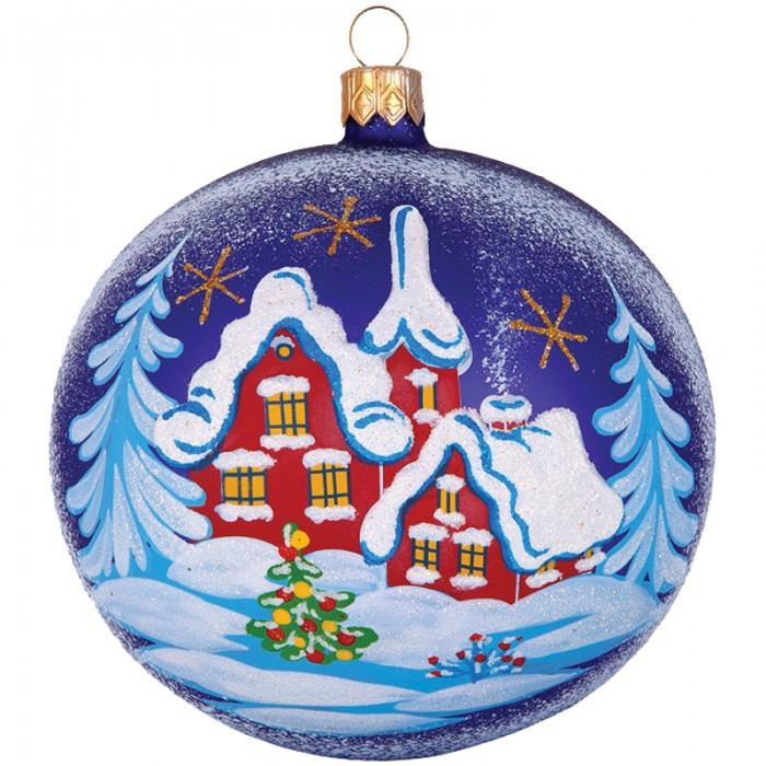 Елочные игрушки Елочка Шар стеклянный Снежный пейзаж 9.5 см