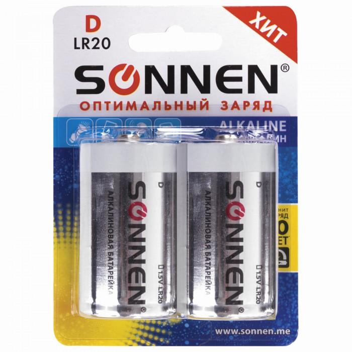 Батарейки, удлинители и переходники Sonnen Батарейки Alkaline D (LR20, 13А) алкалиновые 2 шт.