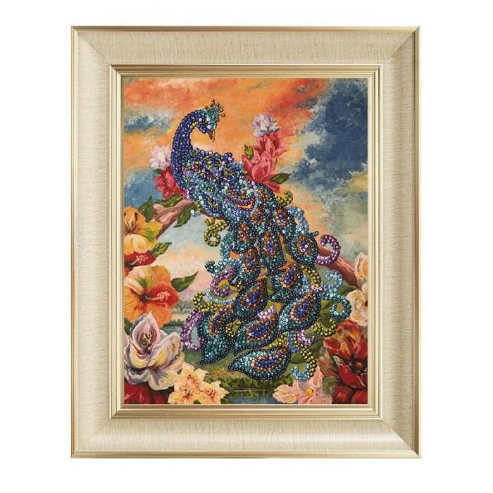 Купить Картины своими руками, Волшебная мастерская Мозаика из пайеток на холсте Павлин МХ-09