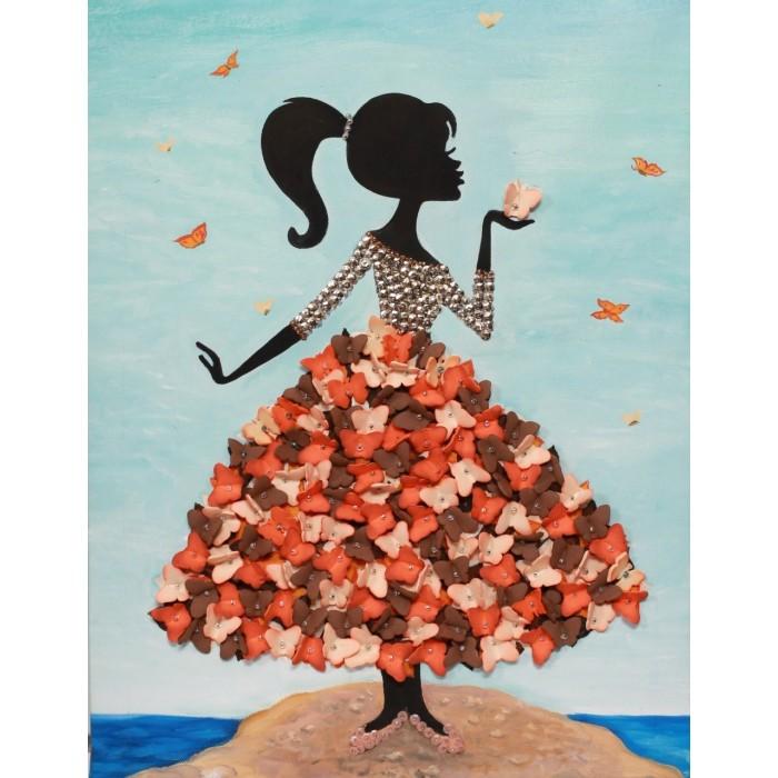 Волшебная мастерская Мозаика из пайеток на холсте Девочка с бабочками МХ-22