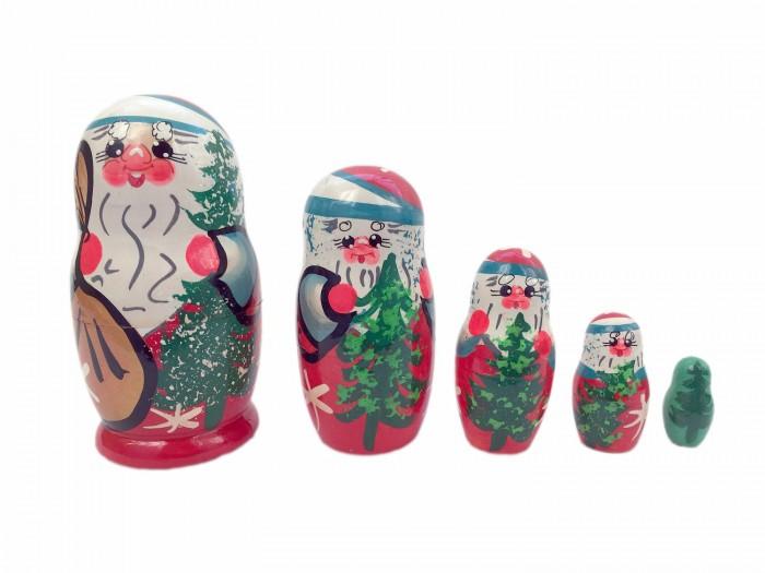 Купить Деревянные игрушки, Деревянная игрушка Уланик Матрёшка Дед Мороз с ёлкой 5 в 1