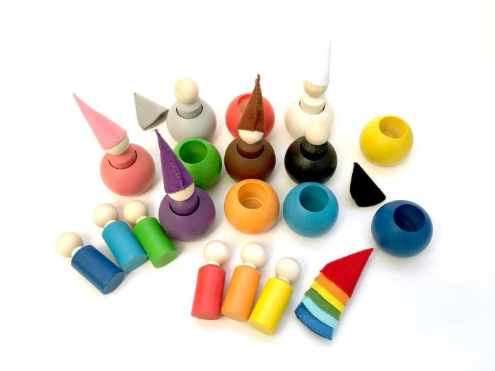 Деревянная игрушка Уланик Набор Гномы в колпачках в шаре 12 штук фото