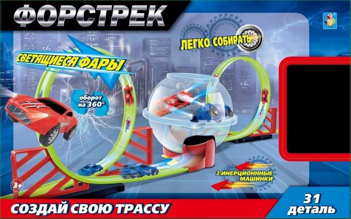 Купить Машины, 1 Toy Форстрек автодром: 2 машинки, сфера и 2 виража