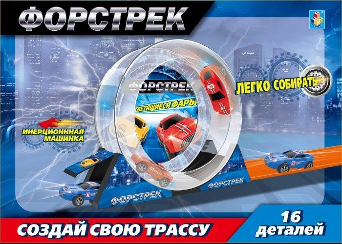 Машины 1 Toy Форстрек автодром: 1 машинка и барабан
