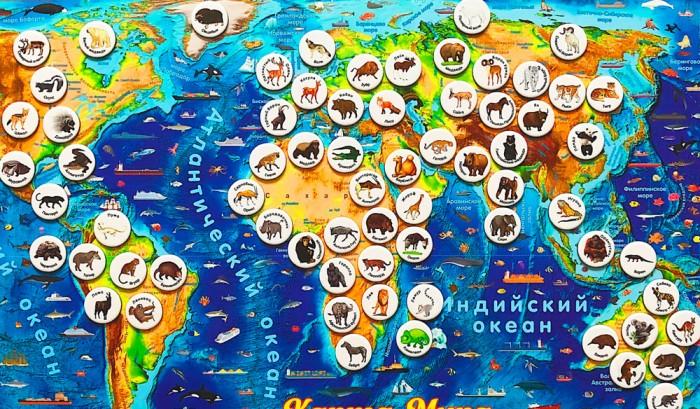 Геомагнит Магнитный геопазл Карта мира и игровой набор Животные мира