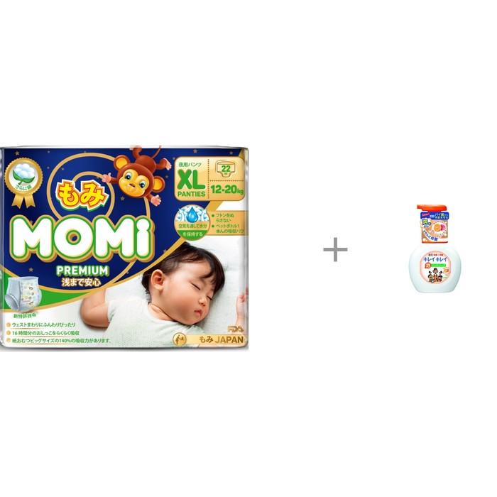 Momi Premium Night Подгузники-трусики XL (12-20 кг) 22 шт. с пенным мылом для рук Lion Kirei Kirei