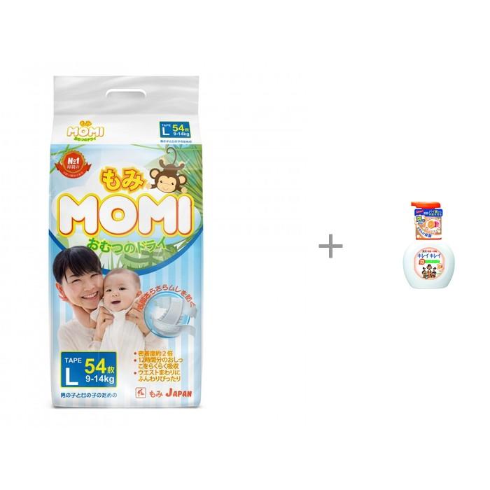 Momi Подгузники L (9-14 кг) 54 шт. с пенным мылом для рук Lion Kirei Kirei