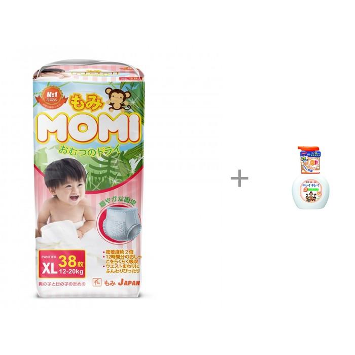 Momi Подгузники трусики XL (12-20 кг) 38 шт. с пенным мылом для рук Lion Kirei Kirei
