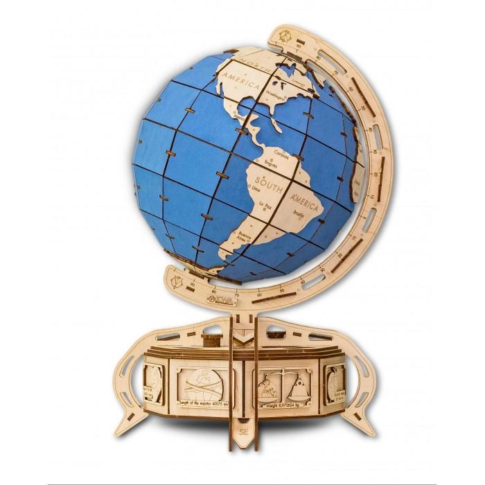 Купить Конструкторы, Конструктор Eco Wood Art 3D EWA Глобус голубой