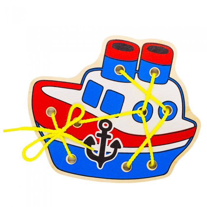 Картинка для Деревянные игрушки Alatoys Шнуровка Кораблик