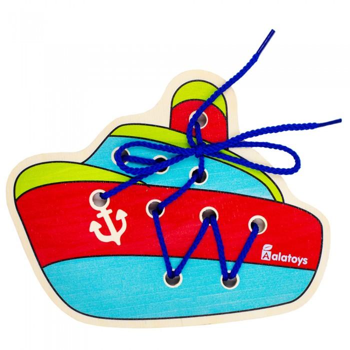 Картинка для Деревянные игрушки Alatoys Шнуровка Корабль