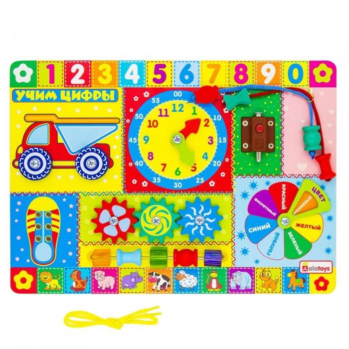 Картинка для Деревянная игрушка Alatoys Бизиборд Учим цифры