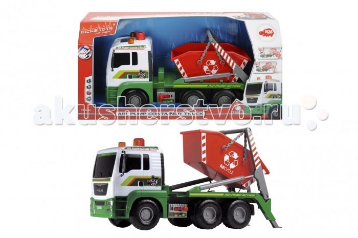 Dickie Мусоровоз с большим контейнером AirPumpМусоровоз с большим контейнером AirPumpDickie Мусоровоз с большим контейнером AirPump, обязательно понравится вашему малышу и займет его внимание надолго.  В комплекте: Колеса грузовиков вращаются, их можно катать.  Все модели выполнены крайне детально и аккуратно, в ярких насыщенных цветах, тщательно проработан каждый элемент.  Изделия изготовлены из прочного и высококачественного пластика и прослужат вашему ребенку очень долго.<br>