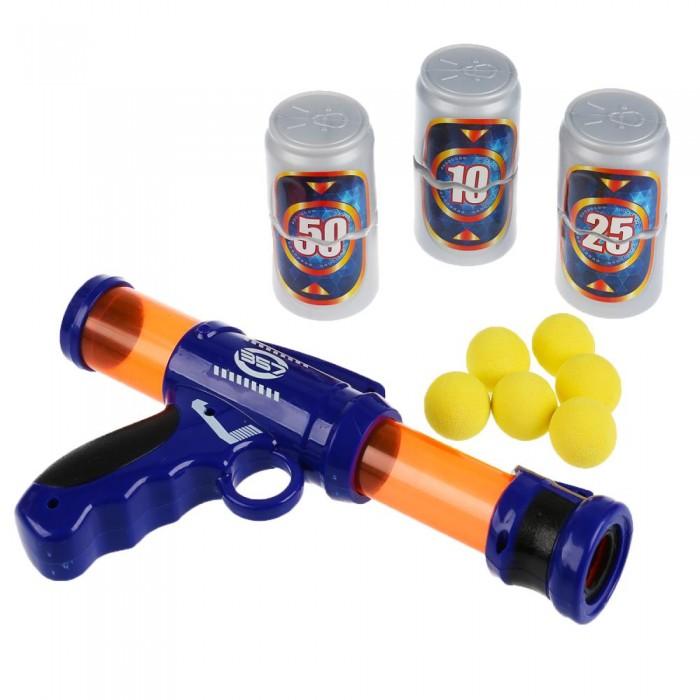 Фото - Игрушечное оружие Играем вместе Бластер с мягкими шариками и банками игрушечное оружие играем вместе бластер стреляющий шариками по кеглям