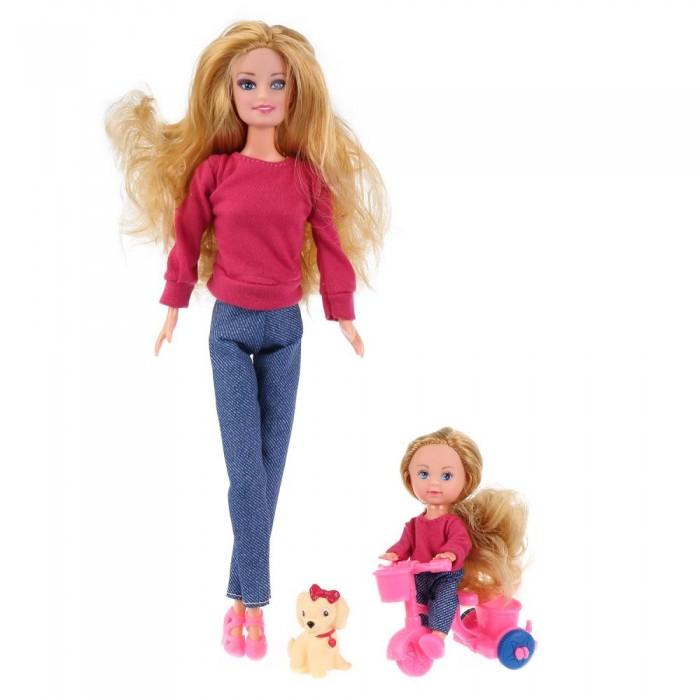 Купить Куклы и одежда для кукол, Карапуз Кукла с дочерью на велосипеде 29 см