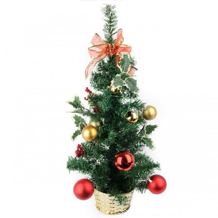 Картинка для Искусственные елки Веселый хоровод Ель декоративная с красными и золотыми украшениями 60 см