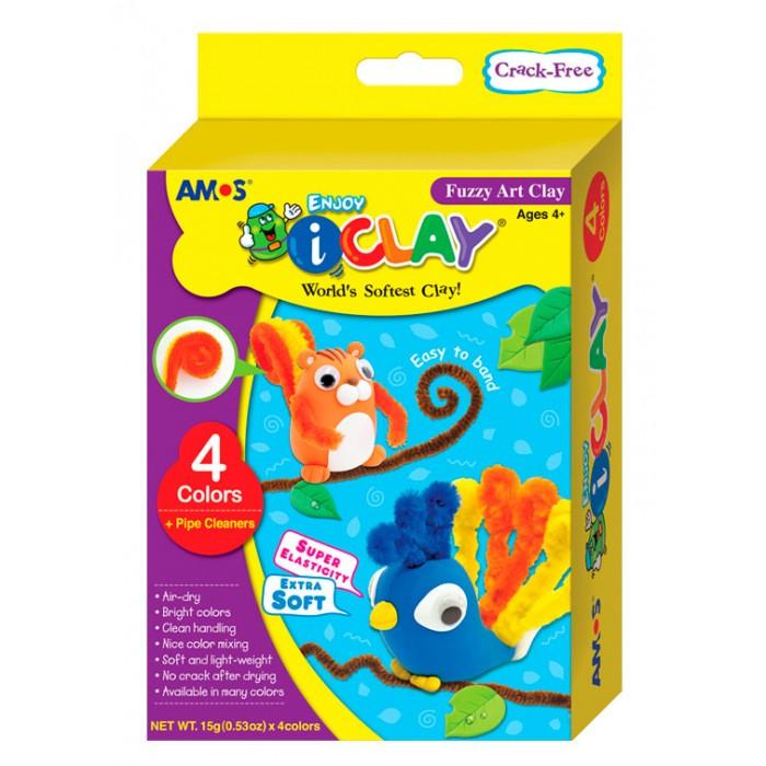 Масса для лепки Amos Масса iClay для лепки Забавные животные 4 цвета