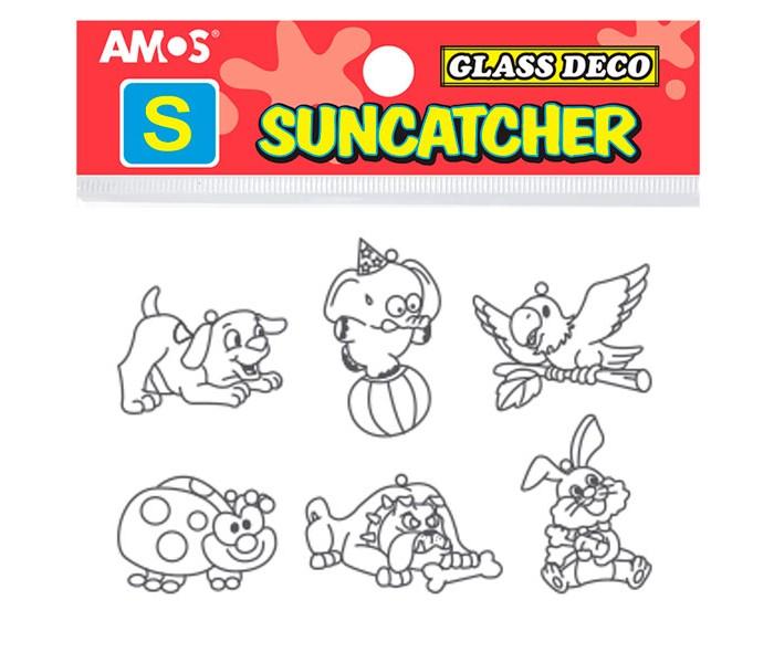 Купить Amos Витражи мини - 6 шт, набор 5: щенок, слоник на шаре, попугай, зайчик, божья коровка, бульдог в интернет магазине. Цены, фото, описания, характеристики, отзывы, обзоры