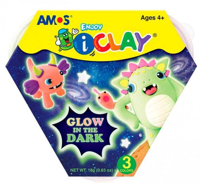 Масса для лепки Amos Масса iClay для лепки светящаяся в темноте 4 цвета масса для лепки erichkrause