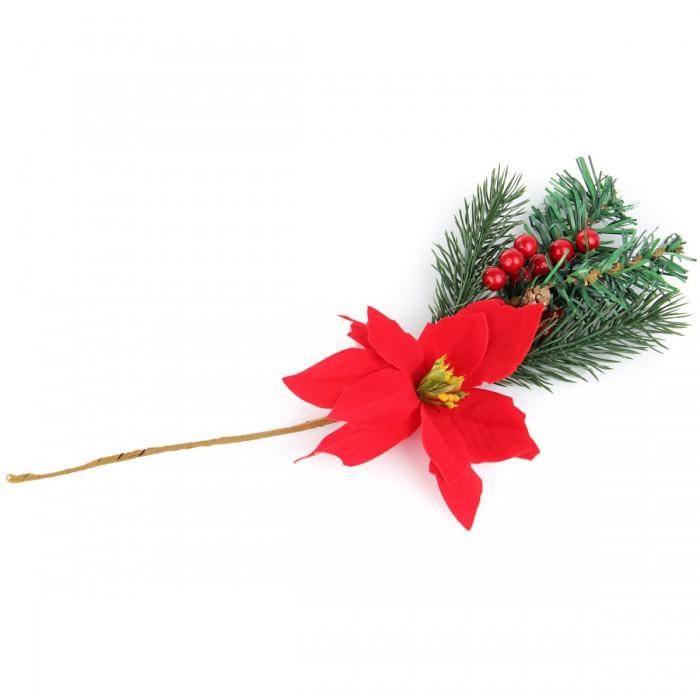 Новогодние украшения Веселый хоровод Новогоднее украшение с цветком 33 см