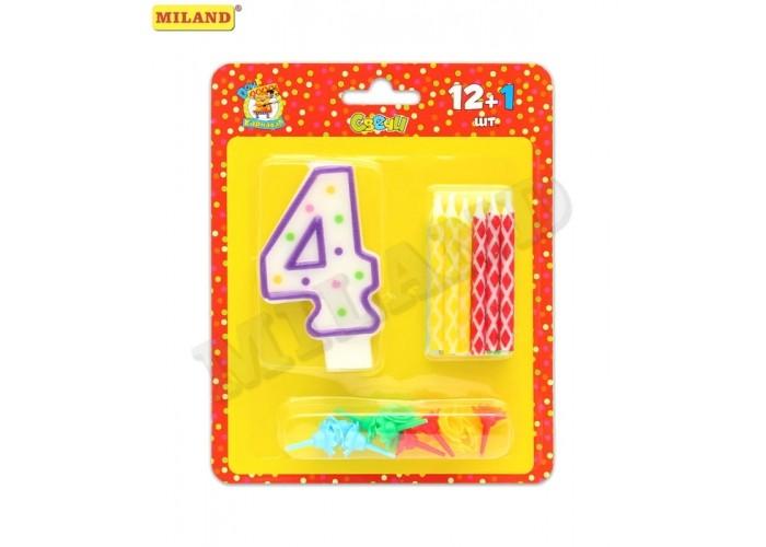 Товары для праздника Миленд Свечи с цветным узором с подставками 12 шт. + свеча-цифра 4
