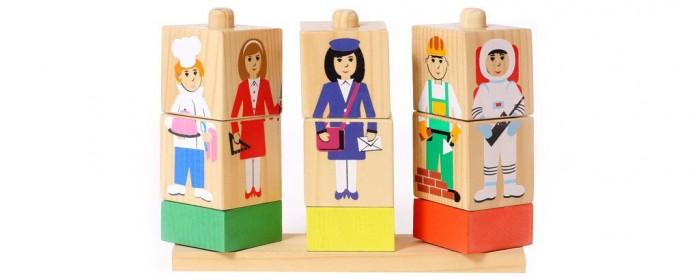 кубики томик кубики цветные 20шт Деревянные игрушки Томик Кубики на палочке Профессии