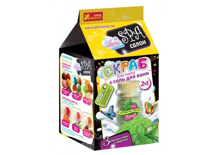 Наборы для творчества Ранок Скраб для тела и соль для ванн Зеленый чай с мятой fresh line набор для тела инжир и зеленый чай