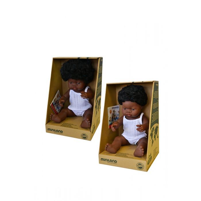 Miniland Набор кукол Близнецы мальчик и девочка африканцы 38 см фото