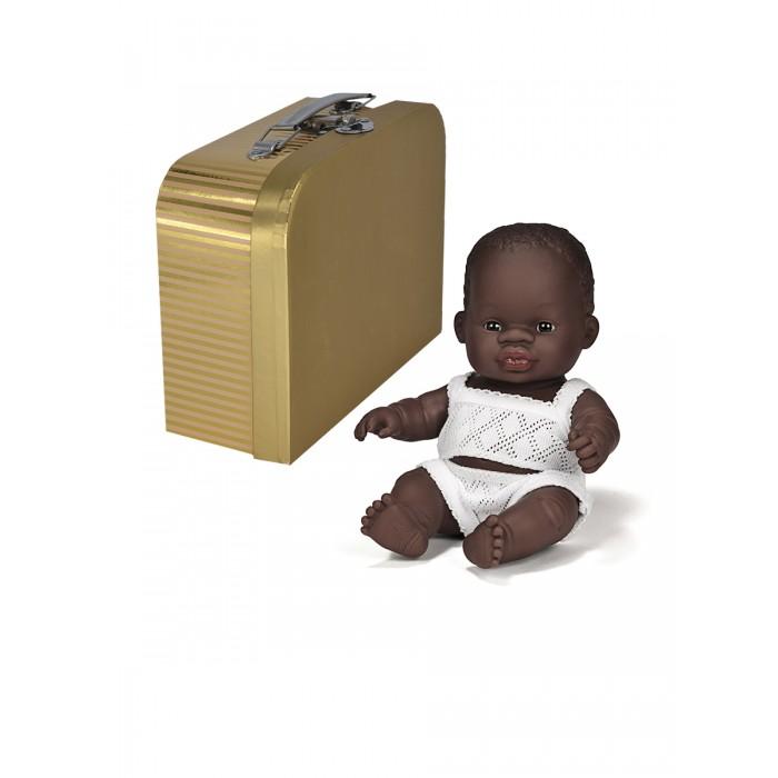 Miniland Кукла пупс Девочка африканка с одним комплектом одежды в  чемоданчике 21 см