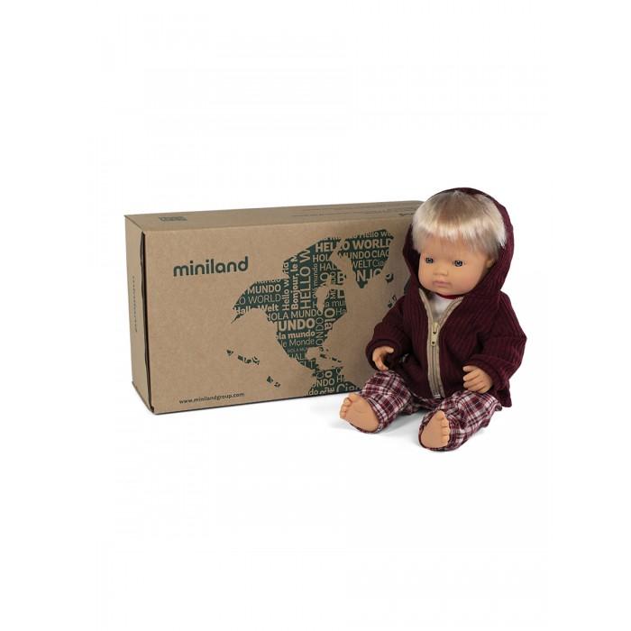 Куклы и одежда для кукол Miniland Кукла Мальчик Европеец с комплектом одежды 38 см