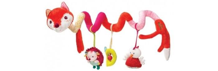 Lilliputiens Лиса Алиса: игрушка-подвес спиральнаяЛиса Алиса: игрушка-подвес спиральнаяЛиса Алиса: игрушка-подвес спиральная.  Забавная Лисичка — игрушка необычной конструкции с длинным тельцем в виде спиральки со смешными висячими лапками и развивающими элементами. Лиса Алиса — один из центральных персонажей бренда Lilliputiens.  На спиральке висят интересные и полезные игрушки — зеркальце-курочка, ежик-погремушка, колокольчик в текстильной рамочке. Хвостик лисы приятно шуршит. Малыш сможет вдоволь полюбоваться яркой лисичкой пощупать игрушки своими ручками, развивая осязательные навыки, слух и мелкую моторику.<br>