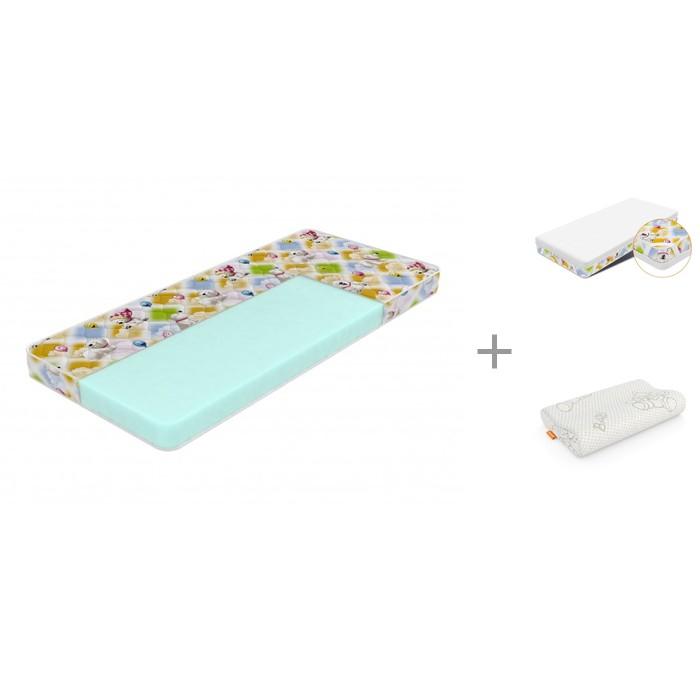 Матрас Sleepy Лисенок Print 80х190 см, Орматек Защитный чехол Kids 80х190 см и Подушка Baby comfort Mini 39х24 см