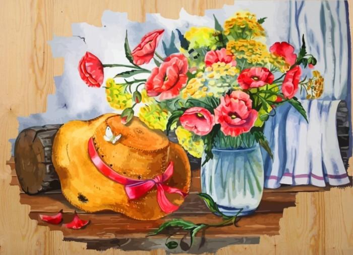 картины по номерам color kit картина по номерам розы для любимой Картины по номерам Color Kit Картина по номерам на дереве Соломенная шляпка
